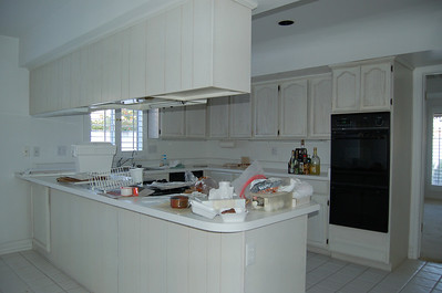 The kitchen cabinets, like everything else in the house, were white. The tile was white, as well.