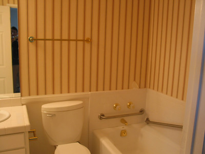 We wanted to keep something from the old bathroom, so the toilet made it, as did the bathtub (but not the fixtures in the tub).