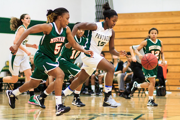 January 8, 2013: Nease's Sydney Searcy and Mandarin's Tianna Jones chase the ball during a basketball game at Nease High School. -James Vernacotola