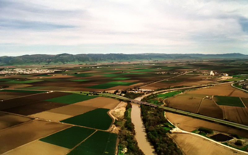 ariel photo of salinas river and the valley with salinas in the backgorund left.