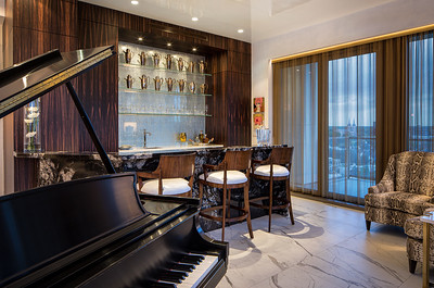 High rise condo bar with black piano eggersman_usa wood
