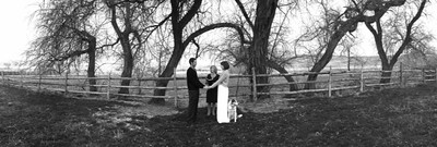 Wedding at Antelope Isalnd with their dog.