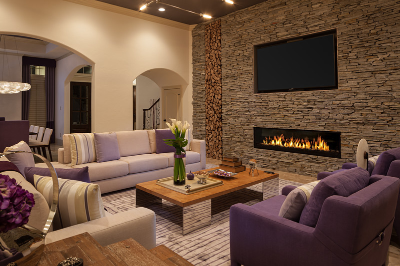 Living room Interior Design with Fireplace