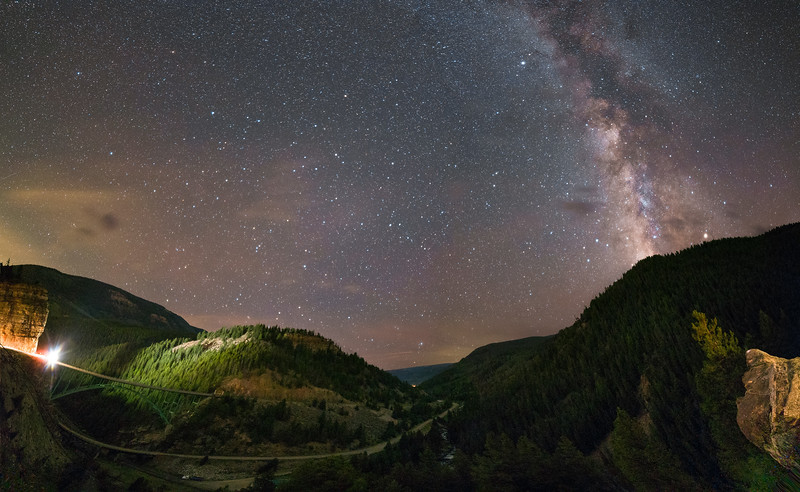 Milky Way Over Red Cliff Bridge Panorama