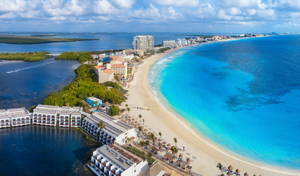 Cancun with lagoon and beach