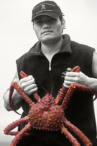 Crab fisherman holding golden king crab