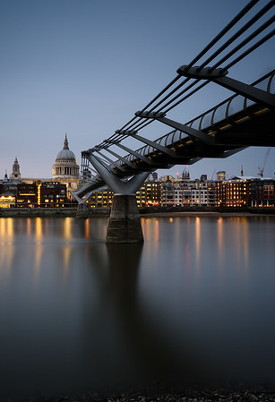 The Millennium Bridge across the Thames,  looking north towards St Paul's Cathedral