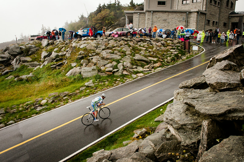 The lead rider on the final climb up Grandfather Mountain on one of the most epic 100 mile bike races around, the Bridge to Bridge.