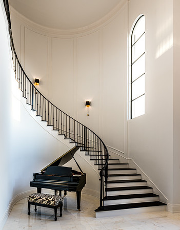 Winding Staircase and Baby Grand Piano