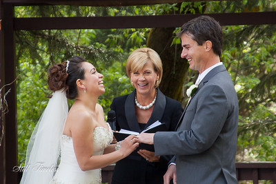 Wedding ceremony filled with laughter.
