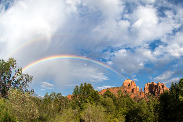 Rainbow near Cathedral Rock in Sedona, Arizona