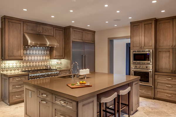 Grey Brown Wood Kitchen Design with large kitchen island and tiled backsplash