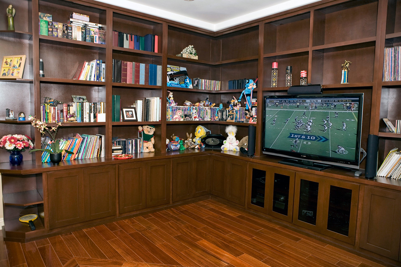 A view of the entertainment center in the loft upstairs. Also shown with Santos Mahogany solid hardwood floor.