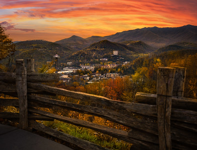 Gatlinburg overlook during brilliant sunset