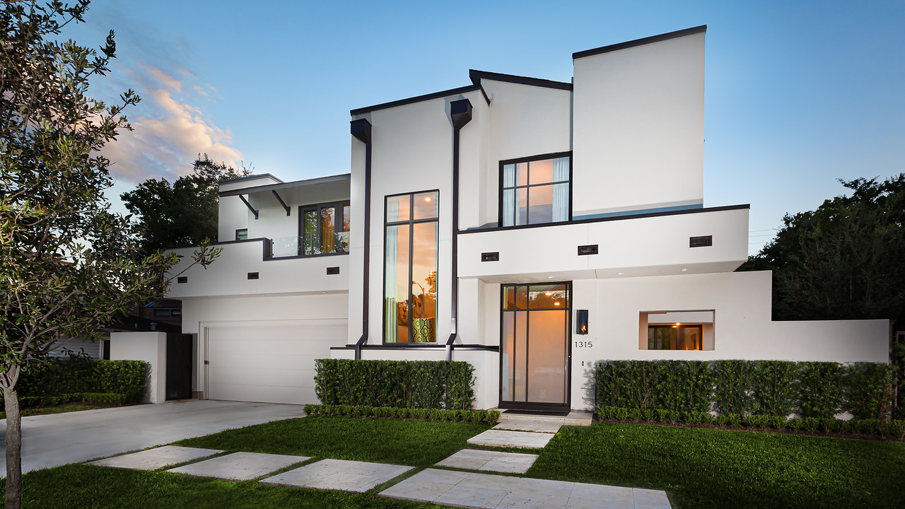 Modern Castle Style Home Exterior built by Frankel Building Group