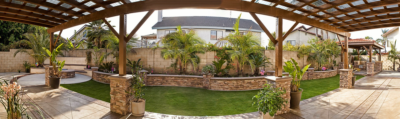 This panorama of the backyard is composited of 9 photos.