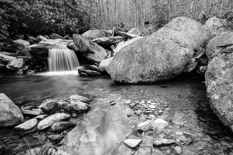 The Boone Fork Creek makes it way down the steep forested terrain on Grandfather Mountain.