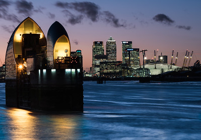 Canary Wharf and the O2 Arena seen from the Thames Barrier