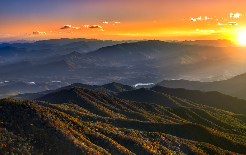 The highest point the Great Smoky Mountains National Park.