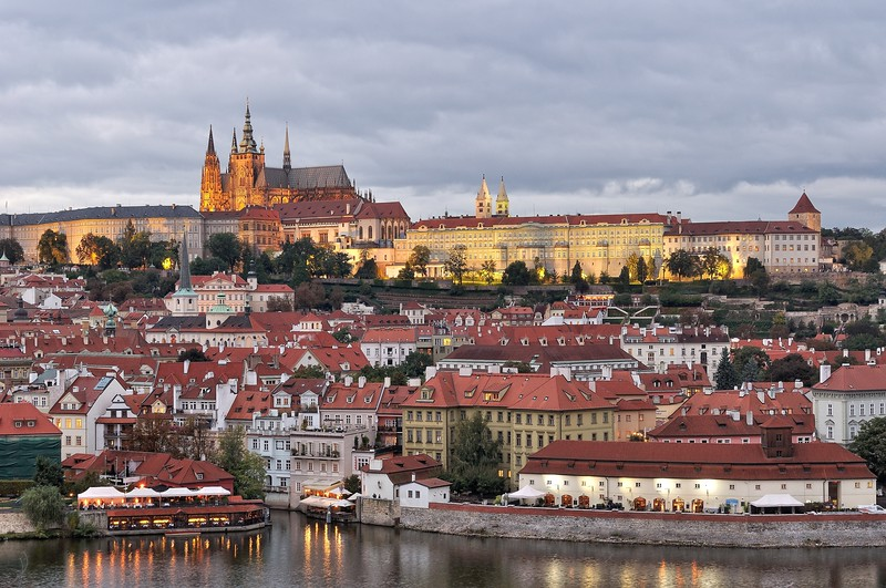 Prague castle at twilight