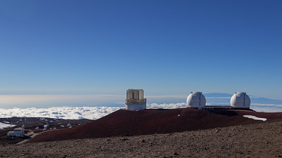 Keck I/II and Subaru telescopes at the summit of Mauna Kea, w/Haleakala in the background.