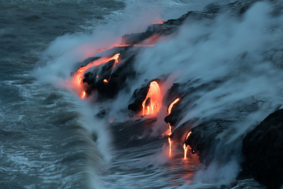 """Nightfall"" (Kamokuna ocean entry, Hawaii Volcanoes National Park 08/21/2016)"