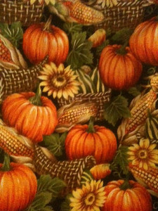 Pumpkins and Corn. This one may have to be pieced in order to make a card table tablecloth.