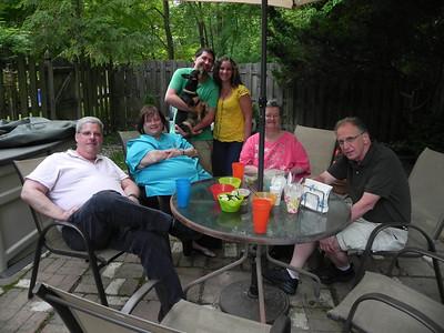 Joe, Michelle, Jake holding Pebbles, Caryn , & Harriet; Alan