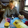 9/22:  Lunch in the camper.  Abby is well-behaved at the table and so gets to share the few into the potato chip bag.  Wugs, I'm afraid, is relegated to the floor.
