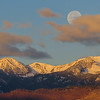 11/15:  Sunrise on the Gallatins with a setting Perigee Moon meaning the moon is at its closest to the earth this year and appears bigger and brighter than the moon on any other night.
