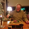 """12/24:  """"Dressed"""" for Christmas Eve, Peter sits down to dinner.  We keep this evening for ourselves - and keep it simple."""
