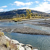 10/03:  We made the most of the good weather days.....here Peter and Alexine at the confluence of the Lamar River with  Soda Butte Creek up in the Park.