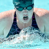(Brad Davis/The Register-Herald) WV Pirhanas' (Beckley) Bekah Kemper, swimming with injured ribs, competes in a breast stroke heat race during the final day of the YMCA West Virginia Long Course Championships at New River Park Pool Sunday afternoon.
