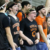 (Brad Davis/The Register-Herald) Summers County students push their classmates on the court during the Lady Bobcats' opening round State Tournament game against Charleston Catholic Wednesday evening at the Charleston Civic Center.