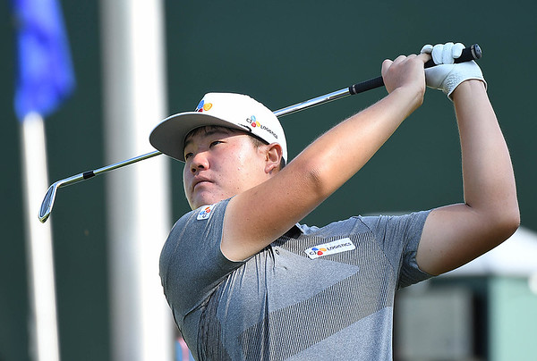 Sungjae Im hits an iron shot during his practice round for, A Military Tribute at The Greenbrier, held on The Old White TPC course at The Greenbrier Resort in White Sulphur Springs.<br /> (Rick Barbero/The Register-Herald)