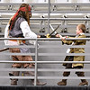 (Brad Davis/The Register-Herald) Captain Jack Sparrow (left), a.k.a. Oak Hill resident Landon Fitzpatrick and his nine-year-old son Tylin partake in an epic pirate battle along the balcony during Causeacon Saturday afternoon at the Beckley-Raleigh County Convention Center.