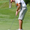 (Brad Davis/The Register-Herald) Aaron Kemlock putts during BNI action Sunday afternoon at Glade Springs' Stonehaven Golf Course.