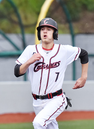 Greater Beckley Christian's Blake Hunt (7) runs to score the opening run during their baseball game against Greenbrier West in Beckley on Monday. (Chris Jackson/The Register-Herald)