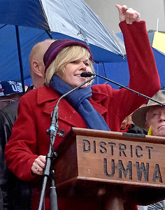 (Brad Davis/The Register-Herald) Christine Campbell, President of the American Federation of Teachers West Virginia, speaks at the State Capitol Complex during Saturday's teacher's rally.
