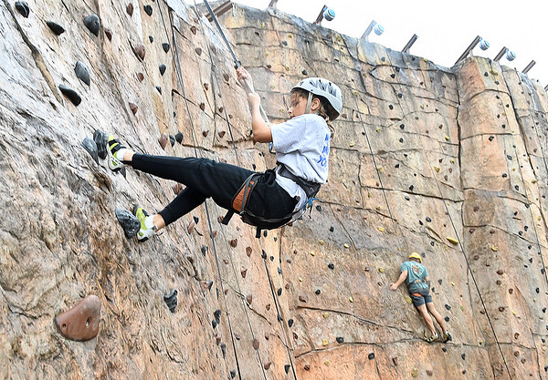 Park Middle school Student Kendyl Hayhurst, rock climbs the wall during WVU Adventure School held at the Summit Bechtel Reserve in Glen Jean. Students were first taught the science of rock climing before adventuring up the wall.<br /> (Rick Barbero/The Register-Herald)