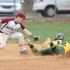 (Brad Davis/The Register-Herald) Greenbrier East baserunner Bailee Coles steals 2nd base as he dodges Woodrow Wilson 2nd baseman Hunter Tolliver's tag Wednesday evening in Beckley.