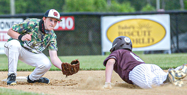 F. Brian Ferguson/Register-Herald  Oak Hill second baseman Conner Roberts waits to tag out Woowrow Wilson's Conner Mallahan on a steal attempt during Tuesday evening action in Oak Hill.