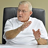 (Brad Davis/The Register-Herald) Retired Navy pilot Herbert Wheeler talks about his career as a military pilot Friday afternoon. He has 187 combat missions in Vietnam between August 1968 and May 1970 to his credit to go along with seven and a half months in Desert Storm before retiring as a National Guard Wing Commander in Charleston in 2000. On his 199th mission in Vietnam, his plane went down in northern Laos. He was eventually rescued, but his co-pilot was taken prisoner and was ultimately one of only a handful of captured pilots out of hundreds in Laos to ever return home sometime later. He currently serves as VP of the board at the Raleigh County Airport.