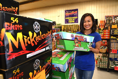 Emily Bush, owners of WV Fireworks Outlet in Crab Orchard (Rick Barbero/The Register-Herald)