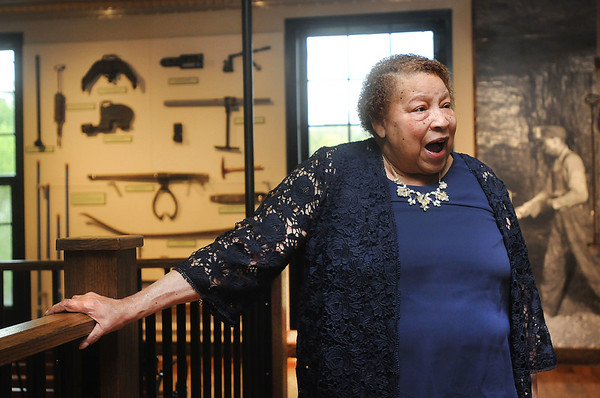 """Zora Stroud speaks before being honored with a plaque for being an African-American coal miner. """"Now 50,000 people won't have to ask about women coal miners,"""" she said.  Jon C. Hancock/for The Register-Herald"""