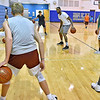 (Brad Davis/The Register-Herald) Young basketball players from around the area work on their ball handling skills as they run through drills with former West Virginia Mountaineers player John Flowers (2007-2011) during the Fundamentals with coach Herbie Brooks basketball camp Saturday afternoon at Beckley-Stratton Middle School. Flowers has been playing professionally in Europe since his Mountaineer days, spending last season with Champagne Chålons-Reims of the LNB Pro A League in France.