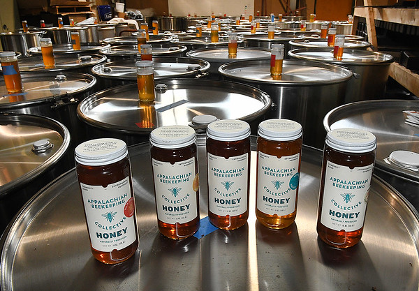 Variety of honey processed by Appalachian Headwaters at Camp Waldo in Hinton<br /> (Rick Barbero/The Register-Herald)
