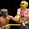 (Brad Davis/The Register-Herald) Beckley's Andre Williams, left, takes on Wyoming County's David Carte in a light heavyweight matchup during the Original Toughman Contest Friday night at the Beckley-Raleigh County Convention Center. Williams would win the fight.