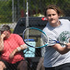 Lance Dillon, of Wyoming East, competes in the Class AA-A Region 3 high school tennis tournament held at Shady Spring High School.<br /> (Rick Barbero/The Register-Herald)