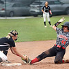 Wyoming East's Madison Clark tags a runner on third.